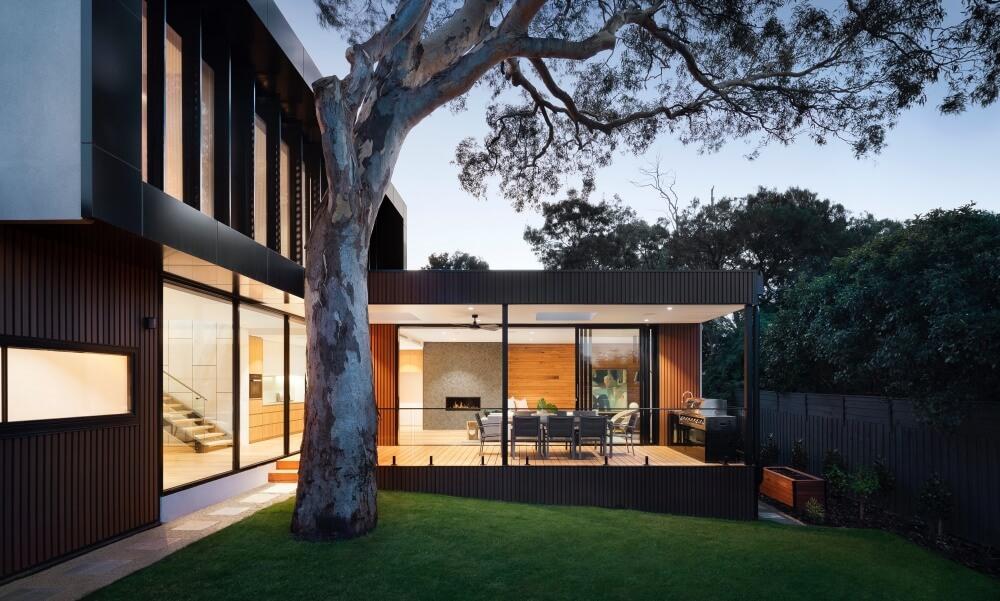 Modernt designhus nattid