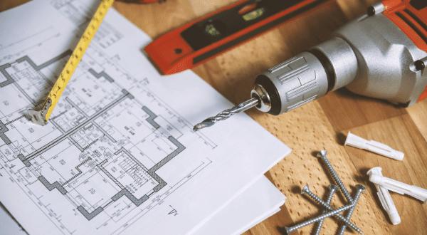 Planlösning ritning och byggverktyg